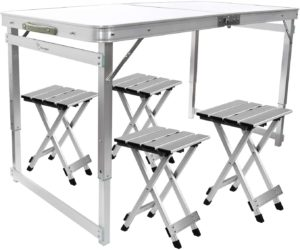 FrenzyBird Folding Picnic Table with 4 Stools